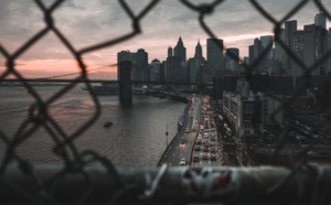 New York City through Fence